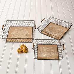 Autumn Wood and Metal Trays (Set of 3)