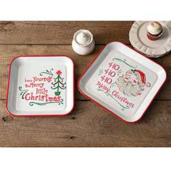 Vintage Santa Enamel Trays (Set of 2)