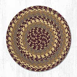 Burgundy, Gray, and Mustard Cotton Braid Chair Pad