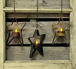 Hanging Star Tealight Holder - Black
