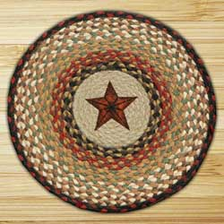 Star Braided Jute Chair Pad (Red, mustard)