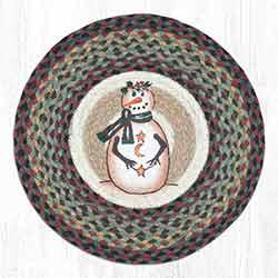Moon & Star Snowman Round Braided Chair Pad