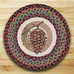 Burgundy & Sage Pinecone Braided Jute Chair Pad
