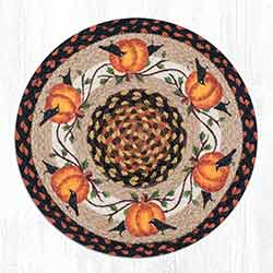 Pumpkin Crow Round Braided Chair Pad
