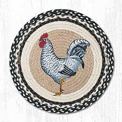 Black and White Rooster Braided Chair Pad