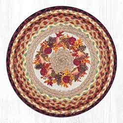 Autumn Wreath Round Braided Chair Pad