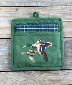 Mallard Embroidered Pocket Pot Holder Set