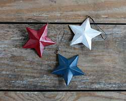 Hand-Painted Patriotic Star Ornaments (Set of 3)
