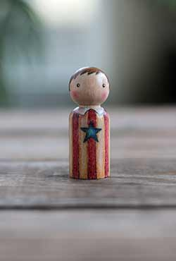 Americana Boy Art Peg Doll