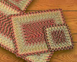 Burgundy, Black, and Sage Cotton Braid Placemat - Rectangle