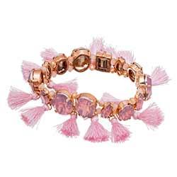 Pink Gem & Tassel Bracelet