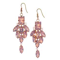 Pink and Gold Gem Earrings