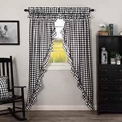 Annie Buffalo Black Check Ruffled 84 inch Prairie Curtain
