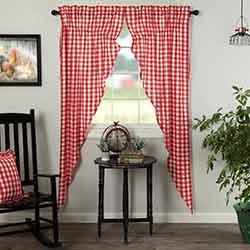 Annie Buffalo Red Check Long Prairie Curtain