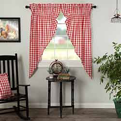 Annie Buffalo Red Check Prairie Curtain