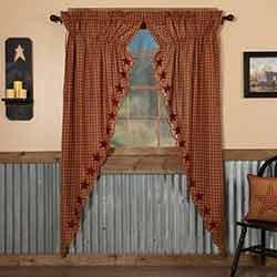 Burgundy Star Scalloped Prairie Curtain Panels - 84 inch