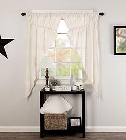 Burlap Antique White Prairie Curtain (63 inch)