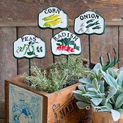Vegetable Garden Stake Set (Corn, Peas, Onion & Radish)