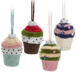 Felt Cupcake Ornaments (Set of 4)
