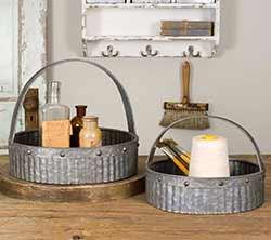 Round Galvanized Baskets (Set of 2)