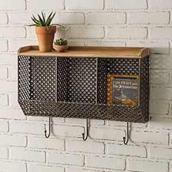 Mesh Triple Bin Wall Organizer with Hooks