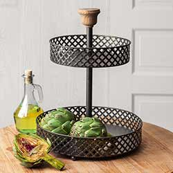 Black Mesh Two-Tiered Tray