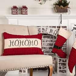 Chenille Christmas Ho Ho Ho Pillow 14x22