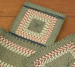 Green and Burgundy Cotton Tweed Chair Pad (Square)