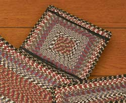 Burgundy, Blue, and Gray Cotton Tweed Chair Pad (Square)