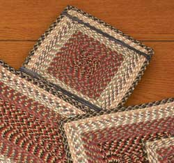 Burgundy, Gray, and Creme Cotton Tweed Chair Pad (Square)