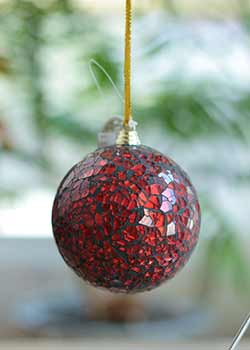 Red Mirrored Ball Ornament