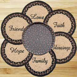 Blessings Braided Jute Trivet Set