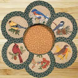 Song Birds Braided Jute Trivet Set