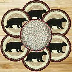 Cabin Black Bear Braided Jute Trivet Set