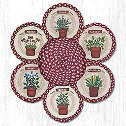 Herbs Braided Jute Trivet Set