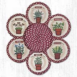 Herbs Braided Jute Trivet Set