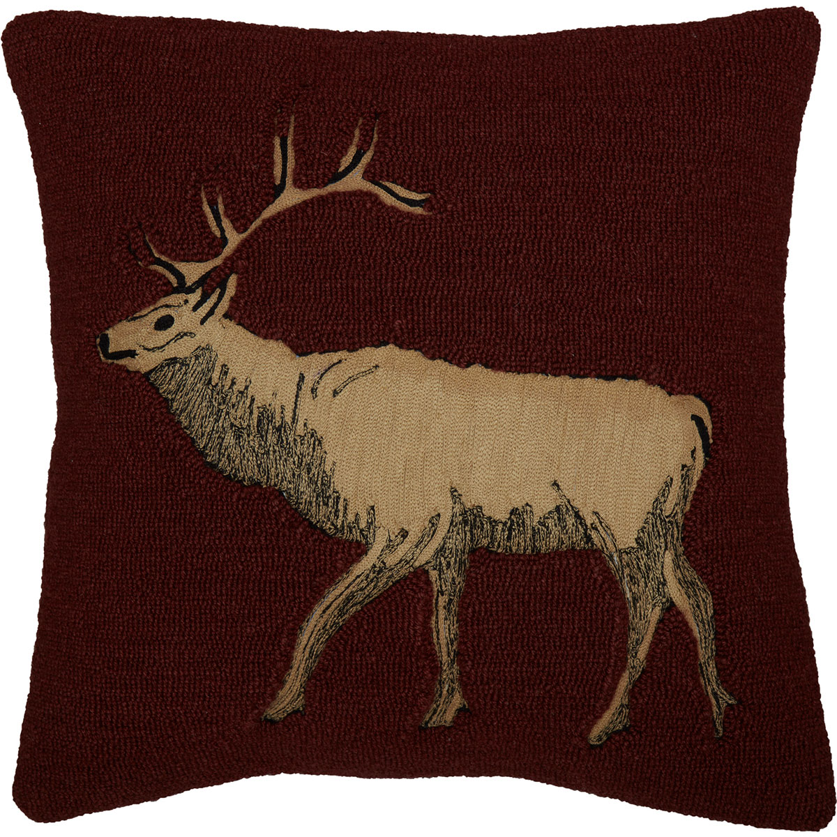 Beckham Elk Hooked Throw Pillow