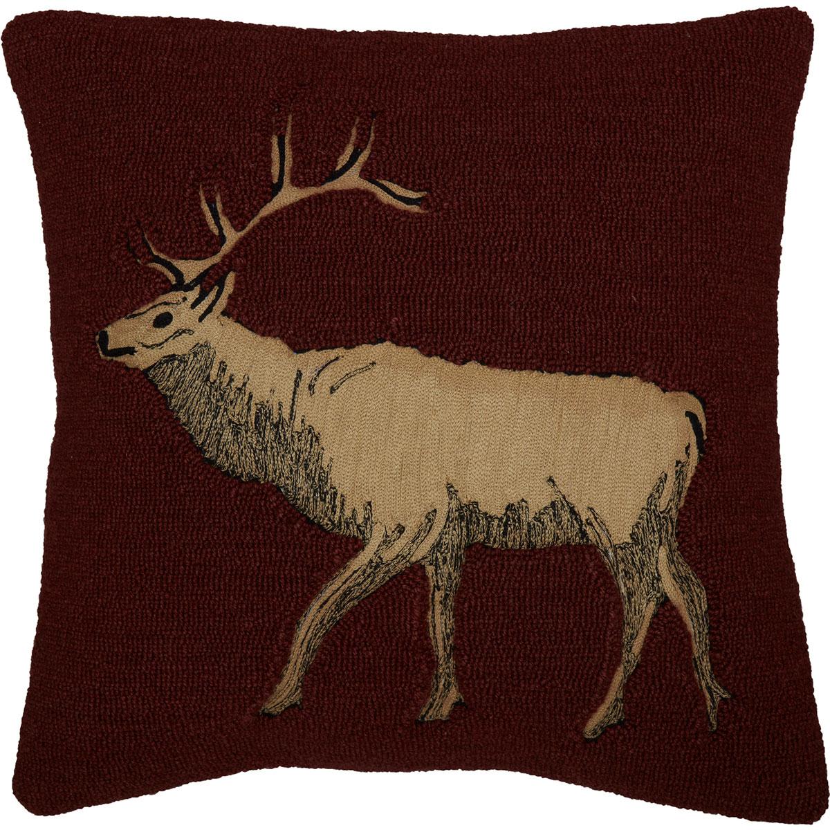 Beckham Elk Hooked Throw Pillow
