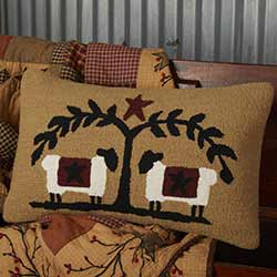 Heritage Farms Sheep and Star Hooked Pillow