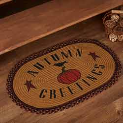 Heritage Farms Harvest Jute Rug Oval Autumn Greetings 20x30