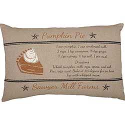 Sawyer Mill Charcoal Pumpkin Pie Recipe Pillow
