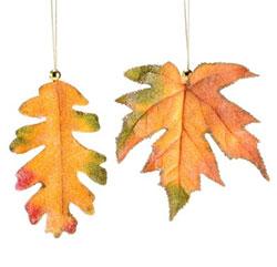 Beaded Fabric Fall Leaf Ornament