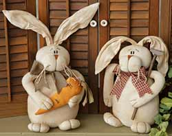 Country Carrot Farmer Bunnies (Set of 2)