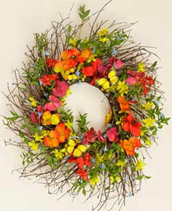 Red Poppy & Orange Pansy Wreath with Butterfly