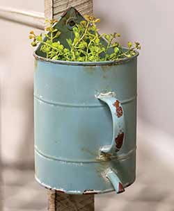 Blue Watering Can Flower Holder