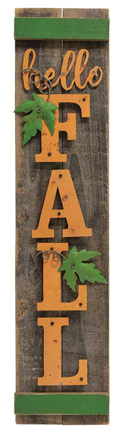 Hello Fall Wood Vertical Sign
