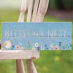 Bless Our Nest Wood Sign with Flowers