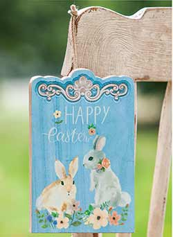 Happy Easter Wood Sign with Bunny