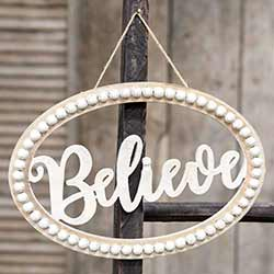 Believe Beaded Oval Sign