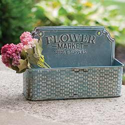 Distressed Blue Flower Market Wall Basket